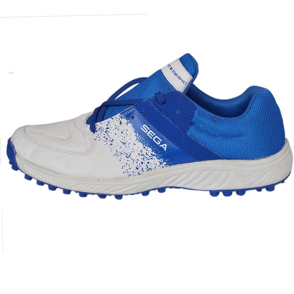 SEGA Mens White PU Cricket Shoes